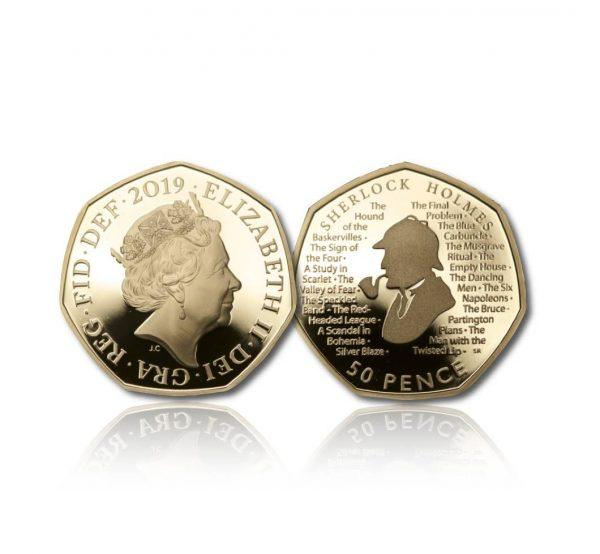 Queen Elizabeth II 2019 Sherlock Holmes Gold Fifty Pence