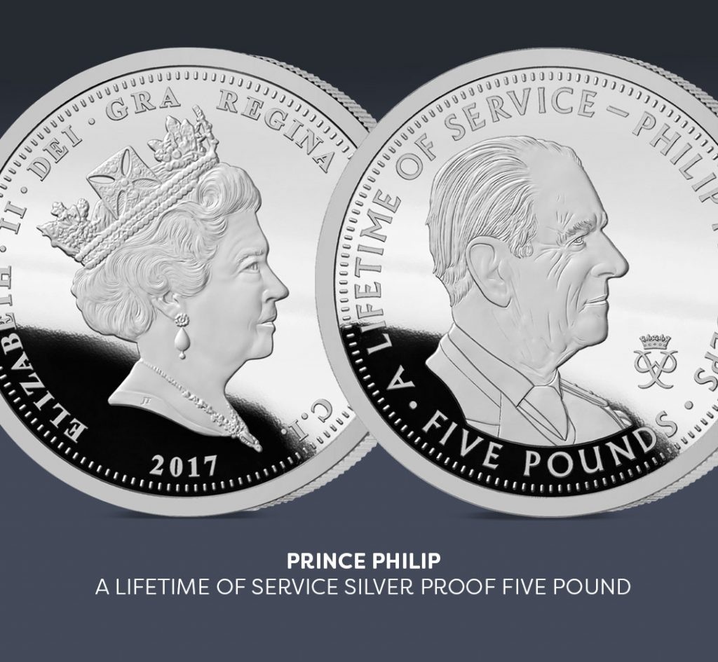 prince philip silver five pound coin